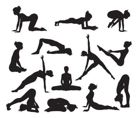 indian yoga: Sagome di una donna facendo esercizi di yoga di alta qualit� e di elevato dettaglio