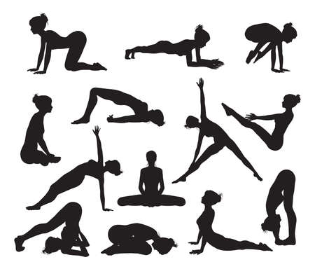 warrior pose: Silhouettes of a woman doing yoga exercises  High quality and high detail