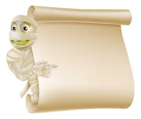 An illustration of a Halloween mummy character peeping round a scroll sign or banner and pointing at it Vector