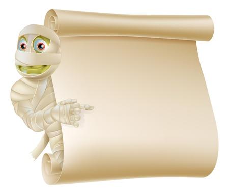 peeping: Una ilustraci�n de un personaje de la momia asomando alrededor de Halloween una se�al de desplazamiento o banner y apuntando a que Vectores