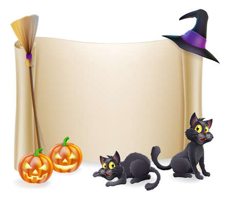 Halloween background scroll sign with witch hat, broomstick, carved orange pumpkins and witch