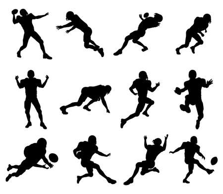 football kick: A set of highly detailed high quality American football player silhouettes