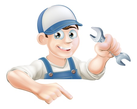A cartoon plumber or mechanic with a wrench peeking over sign or banner and pointing at it Stock Vector - 21075028