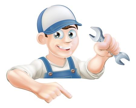 peeping: Un fontanero o un mec�nico de dibujos animados con una llave de leerlo en se�al o bandera y apuntando a que