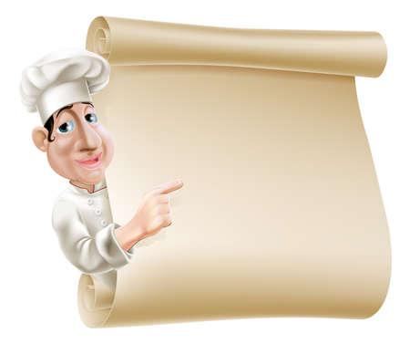 schriftrolle: Illustration eines Cartoon-Chef deutete auf eine Schriftrolle oder Banner vielleicht ein Menü