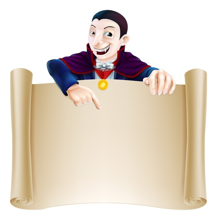An illustration of a cute cartoon Count Dracula vampire character pointing at a scroll sign. Perfect for your Halloween sign or message Vector