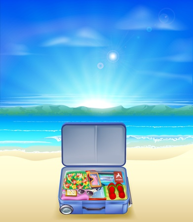 An illustration of a beautiful sandy tropical beach with a suitcase full of holiday or vacation essentials Vector