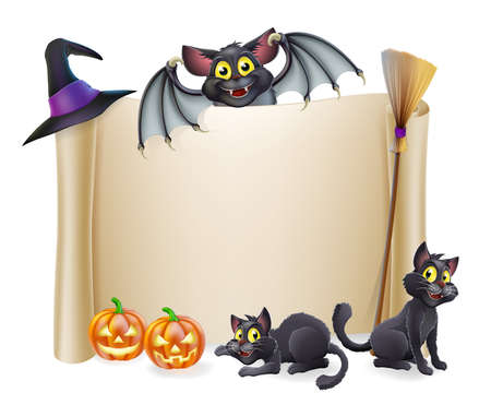 A Halloween scroll sign with a bat character above the banner and pumpkins, witchs cats, hat and broomstick Vector
