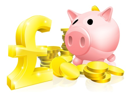 gbp: Illustration of a pink piggy bank with lots of gold coins and a big pound sign or symbol Illustration