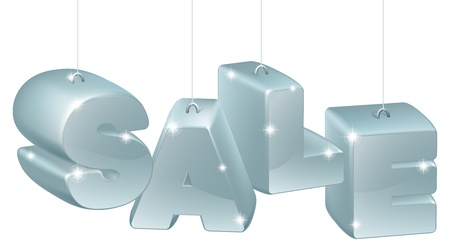Silver Christmas, New Year or other decorations spelling out the word sale Vector