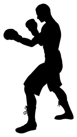 A detailed silhouette of a boxer with gloves boxing Vector
