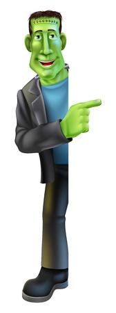 выглядывал: Мультипликационный персонаж Монстр Франкенштейна Хэллоуин выглядывал круглый знак и указывая баннер