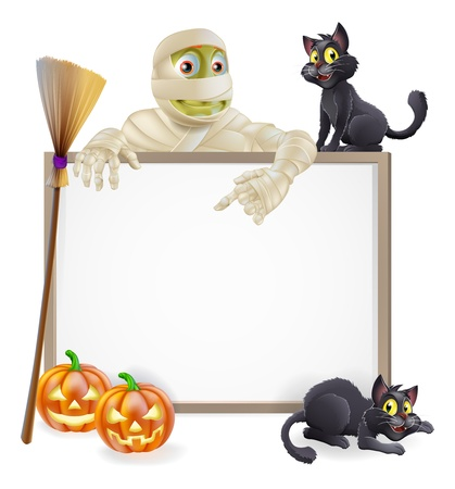 A Halloween sign with a classic mummy character pointing down and witchs black cats, broomstick and Halloween carved orange pumpkins Vector