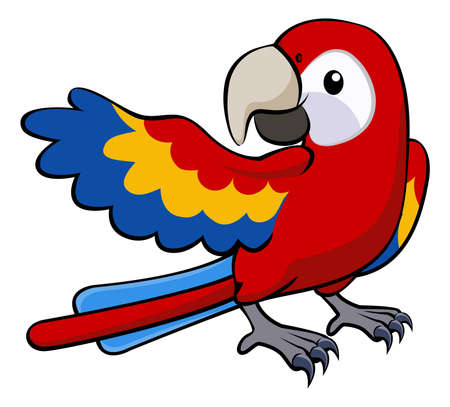 macaw parrot: Illustration of a happy red cartoon parrot pointing with his wing