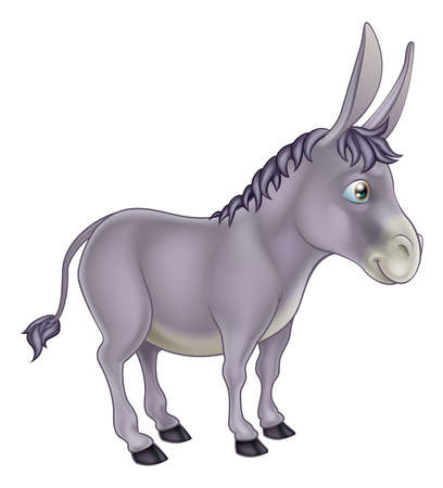 An illustration of a cute grey cartoon donkey character Vector