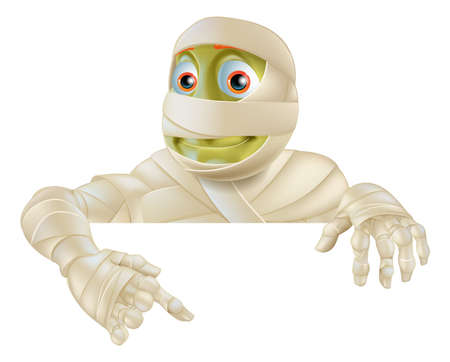 An illustration of a cartoon Halloween Mummy pointing down at a sign or scroll Vector
