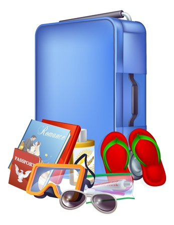 trolley case: Illustration of a blue modern trolley case and holiday items ready for packing