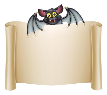 haloween: Bandera murci�lago de Halloween con un personaje de dibujos animados murci�lago sobre el desplazamiento de banner