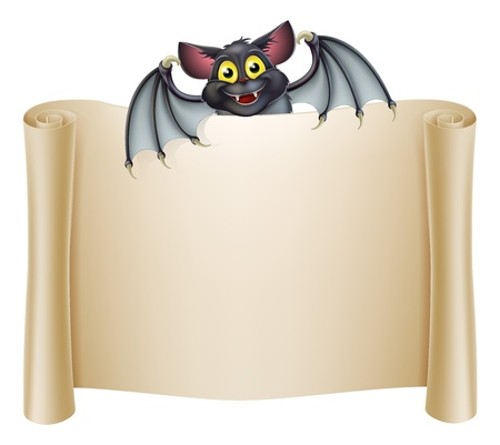 Halloween bat banner with a bat cartoon character above the banner scroll Vector