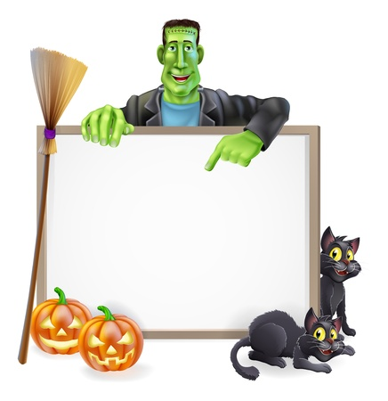 A Halloween sign with a classic Frankenstein Vector