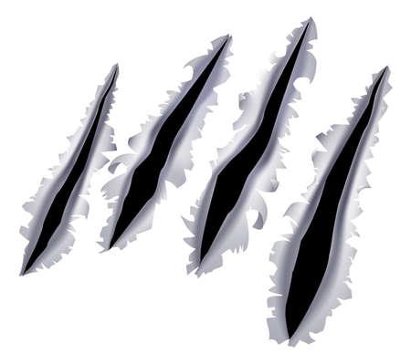 in tears: Un ejemplo de una garra de monstruo o un rasgu�o mano o rasgar a trav�s de un fondo de metal Vectores