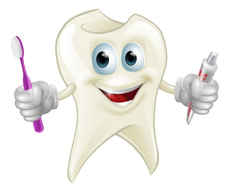 An illustration of a cartoon tooth man character mascot holding a toothbrush and tube of toothpaste Vector