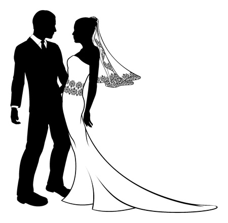 Bride and groom embracing at their wedding,  having first dance or about to kiss, with beautiful bridal dress with veil and lace pattern   Vector