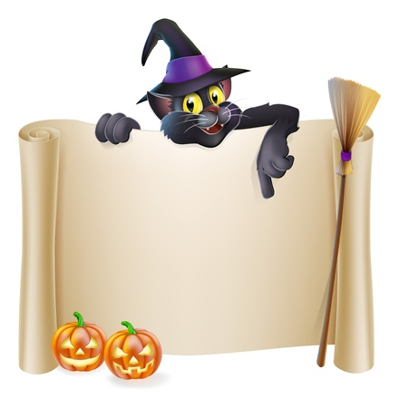 A Halloween scroll sign with a cat character above the banner, pumpkins and witch Vector