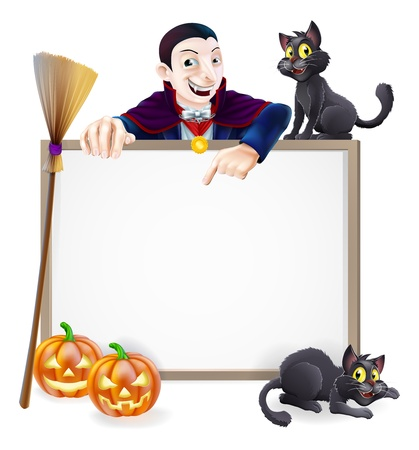 A Halloween sign with a classic Dracula vampire character pointing down and witch Vector
