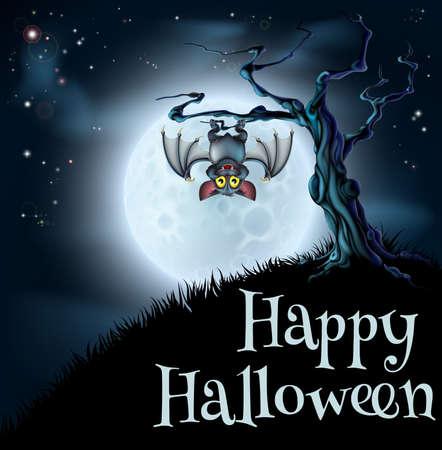 haloween: Una escena de fondo azul spooky Halloween con murci�lago colgado de un �rbol fantasmag�rico con una luna llena en el fondo
