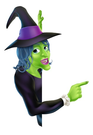 baner: An illustration of a friendly cartoon Halloween witch character peeking round a banner and pointing Illustration