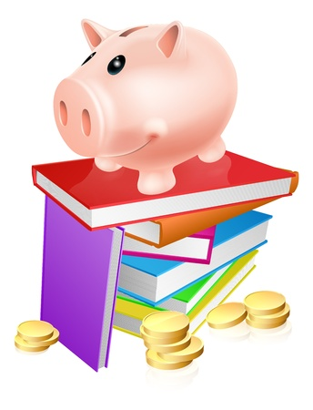 eduction: A piggy bank standing on a stack of books and surrounded by coins  Concept for eduction savings or other literacy related budget theme