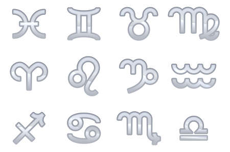 A set of zodiac sign icons representing the twelve signs of the zodiac for horoscopes and the like Vector