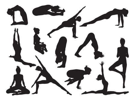 bailarines silueta: Mujer de yoga de alta calidad detallada Muy detallado siluetas