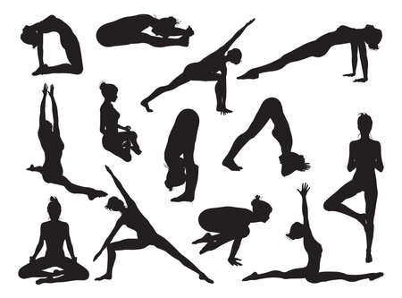 warrior pose: Very detailed detailed high quality yoga woman silhouettes Illustration