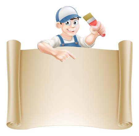 painter and decorator: A painter decorator holding a paintbrush and peeking over a scroll banner and pointing Illustration