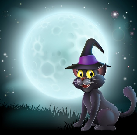 halloween background: Illustration of a Halloween witch cat in a pointy hat  in front of a big full moon on a misty night