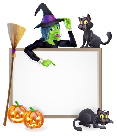 baner: Halloween sign or banner with orange Halloween pumpkins and black witch