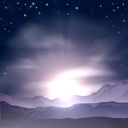 A wondrous sunrise or sunset over a mountain range landscape Vector