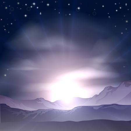 schneelandschaft: Ein wunderbarer Sonnenaufgang oder Sonnenuntergang �ber einer Bergkette Landschaft