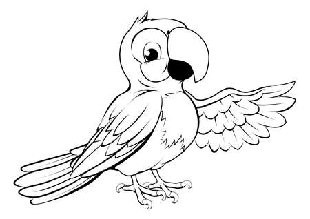 ara: Black and white illustration of a happy cartoon parrot pointing its wing