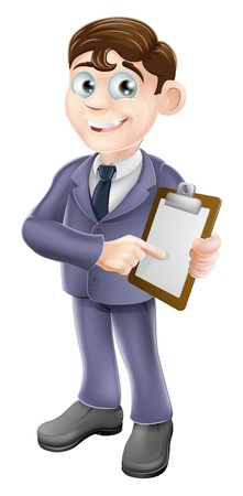 clipboard isolated: A cartoon illustration of a businessman holding survey or clipboard