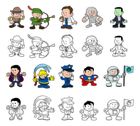 A set of cartoon people or children playing dress up  Color and black and white outline versions