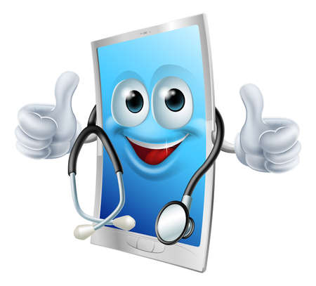 Health app mobile phone concept of a cell phone man with a stethoscope Vector