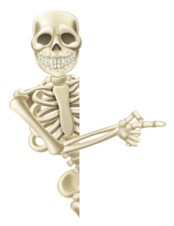esqueleto: Ilustraci�n de un personaje de dibujos animados de Halloween esqueleto se�alando amigable