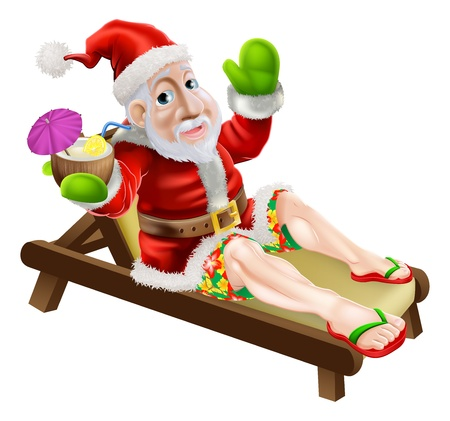 chaise longue: Santa Claus on a hot Christmas holiday relaxing in a sun lounger on the beach or by the pool wearing Bermuda or Hawaiian board shorts and flip flop sandals and enjoying a drink