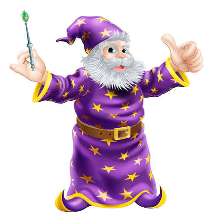 A cartoon wizard or sorcerer holding a wand and giving a happy thumbs up Vector