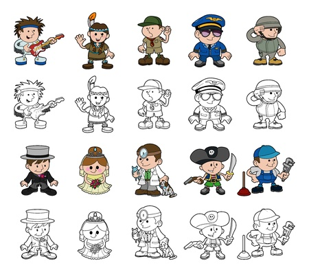 colouring: A set of cartoon people or children playing dress up  Includes color and black and white outline versions