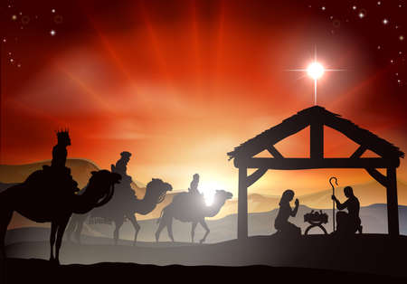 creche: Pesebre de Navidad con el ni�o Jes�s en el pesebre en la silueta, tres hombres o reyes magos y la estrella de Bel�n