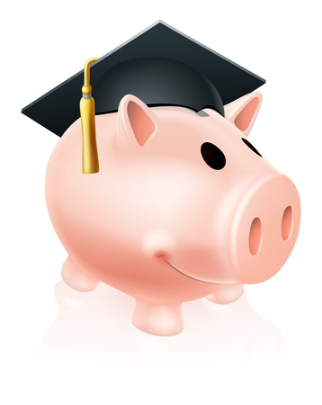 fee: Piggy bank wearing an academic mortar board hat, concept for saving for an education Illustration
